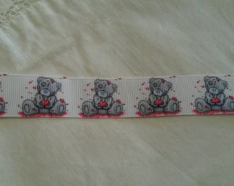 "1 meter Ribbon grosgrain Ribbon 20 mm / pattern ""Teddy Bear"""