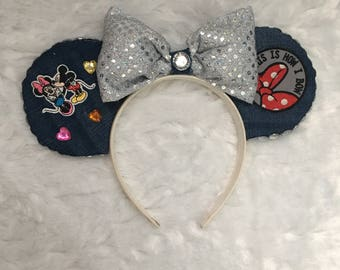 Denim patched Minnie Mouse Ears