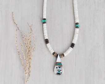 Vintage Kachina Pendant Necklace - inlaid mother of pearl turquoise teardrop on clam shell heishi beads - Southwestern Native American