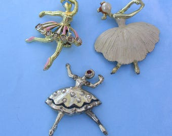 Vintage jewelry lot Ballerina Brooches Dance Ballet Pins retro collection