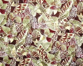Rayon Challis Fabric Tropical  Floral Fabric Apparel Greens Browns Hamel By the yard