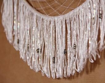 Medium magic white dreamcatcher mobile, silver pedant and beads, handmade boho dreamcather, wall hanging decor, bohemian decor, hippie gypsy