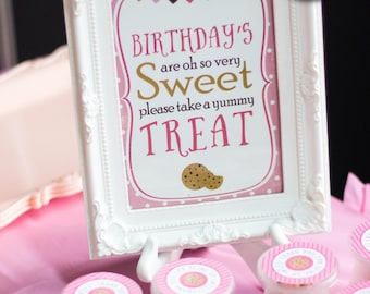 Milk and Cookies Sweets Table Sign, Girl Birthday Decor, Pink Party Sign, Birthdays Are Sweet Sign, INSTANT DOWNLOAD, Candy Table Sign, #54