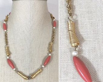 30% Off Sale Vintage Gold Pearl and Coral Bead Chain Necklace, perfect for a pendant, upcycle