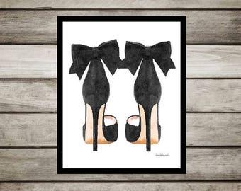 Black fashion watercolor shoes, high heels, fashion illustration, shoe art, shoe art, high heels, fashion print, fashion art, gift, bow, art