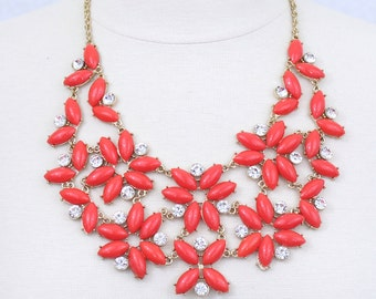 Red Orange Statement Necklace Floral Necklace Flower Chunky Necklace Bib Necklace Prom Wedding Jewelry Daisy Necklace