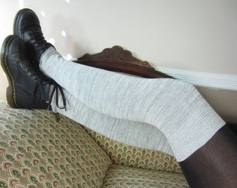 Thigh High Leg Warmers Charcoal Gray Knit Boot Sock Grey A962