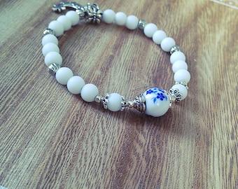 Women bracelet, elastic, white, blue, silver, Moonstone, onyx, boho, gift, Bohemian, made with love