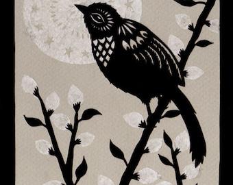 Moonlit Willow - 5 x 7 inch Cut Paper Art Print