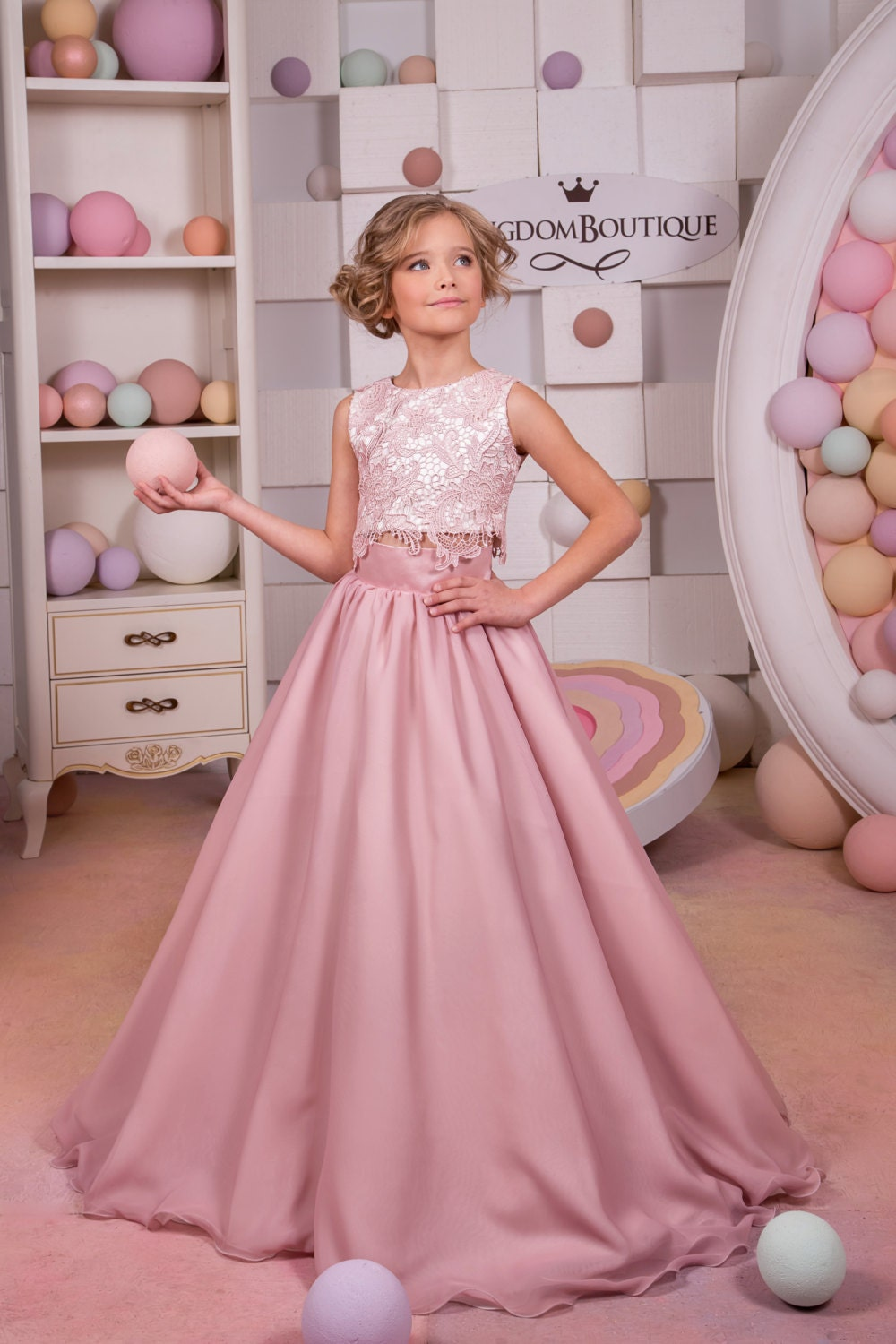 Blush Pink Lace Satin Flower Girl Dress Wedding Party