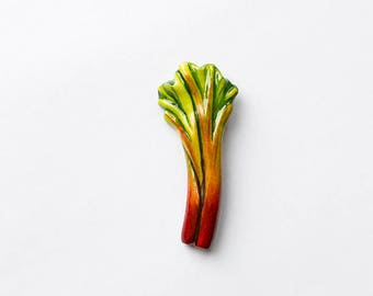 Pieplant rhubarb brooch, funny bright jewelry, green and red vegetables vegetarian veggie fashion jewelry
