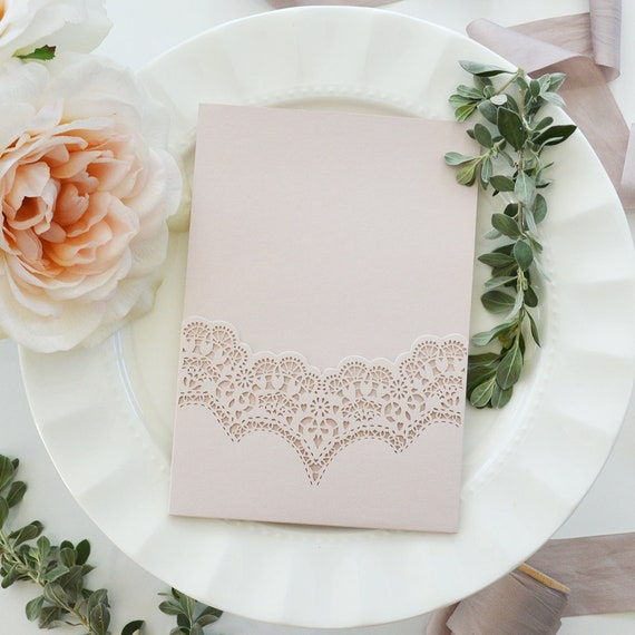 DIY Laser Cut Pocket Invitation - Laser Cut Wedding Invitation - Laser Cut Pocket - Do It Yourself Pocket Invitation