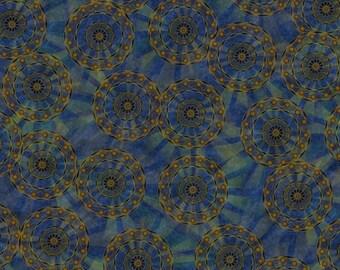 Mandalas Blue and Green - Rise & Shine from Quilting Treasures - Full or Half yard Dk Blue Mandalas