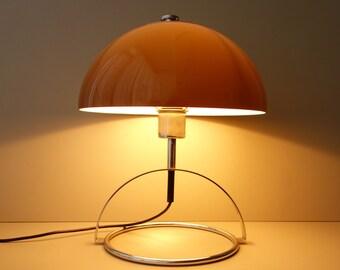 Vintage 1970s Elevated Mushroom Shaped Desk Table Lamp Acrylic U0026 Chrome Mid  Century Modern Seventies Brown