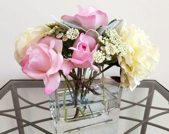 Peony, Real Touch Pink Roses, Faux Flower Arrangement, in Glass Vase with Acrylic Water, Real Looking Flowers, Valentine's Day Flowers