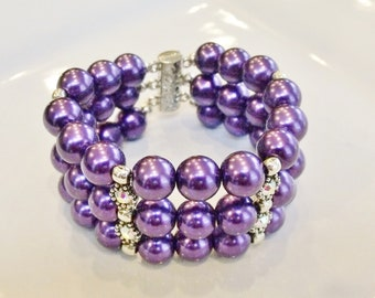Three Strands of Purple Glass Pearls With Crystal AB Rhinestone Spacer Statement Bracelet