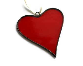 Stained Glass Red Heart Suncatcher tr, Window decor, Wall decor / hanging, Glass art, Decoration, Ornament, Gift Idea