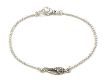 Silver Angel Wing Bracelet, Guardian Angel Gift, Memorial Bracelet, Silver Feather Bracelet, Bereavement Condolence Gift, Sympathy Gift