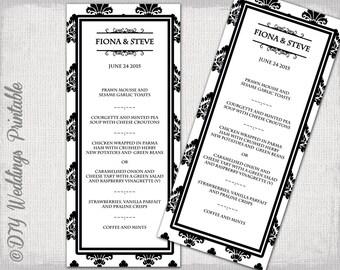 "Wedding menu template -Black & white DIY Damask wedding menu -""Rococo"" digital printable menu -YOU EDIT word/Jpg template - instant download"