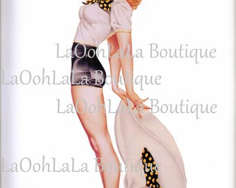 1946 Polka Dot Pinup Digital Printable Retro Pin Up Girl Birthday Cake Topper Millinery Fashion Greeting Card Image Clipart Graphic Download
