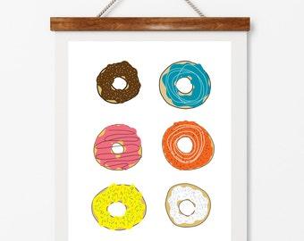 Donuts, collection of six donuts, dessert, digital download, whimsical food, restaurant art, cafe art, baked goods, doughnut art