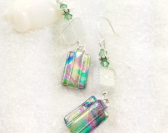 Pastel dichroic glass earrings, fused glass jewelry, artistic earrings, unusual jewelry, rainbow earrings, handmade jewelry, glass fusion