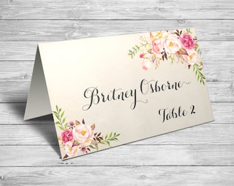 Wedding Place Cards,Rustic Wedding Place Cards, Wedding Place Cards Printable, Wedding Place Card Template, Floral Wedding Place Cards