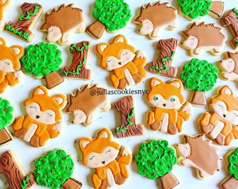 Woodland Animals/cookies/woodland baby shiwer/cookies/animal cookies/sugar cookies/custom cookies/baby shower cookies/decorated cookies/bab