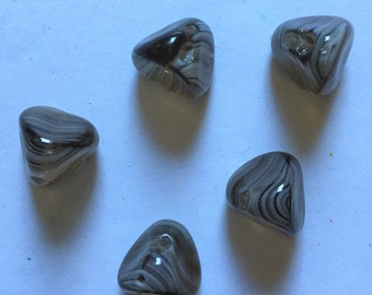 Brown striped vintage nugget beads. 5 pieces. Antique German Glass made in the 1930s. Center drilled. Looks like Botswana Agate stones.