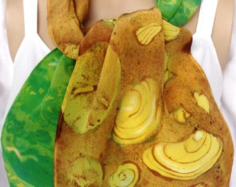 silk scarf crepe Beach Shells unique hand painted long gold green ocean wearable art women resort vacation