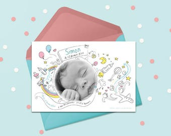 Birth announcement front personalized with photo, name and date of birth