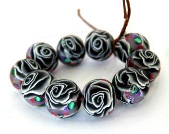 Black and White Rose beads, Flower beads, DIY Crafts, Jewelry Supply, black and white Beads, bulk beads, handmade bead, unique beads