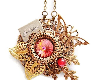 Brass Butterfly Pendant, Filigree Butterfly Necklace, Assemblage Statement Necklace, Filigree Jewelry, Butterfly Jewelry