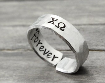 Chi Omega Ring , Hammered Sorority Ring, personalized jewelry, hand stamped ring, handstamped jewelry, Sorority Jewelry