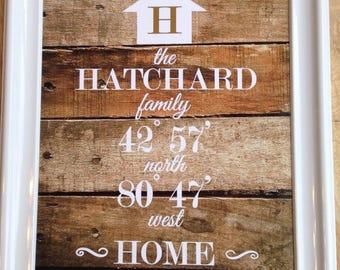 Custom Coordinates, latitude, longitude, home, art print, digital, printable file, new home, housewarming, wedding, gift, rustic, wood