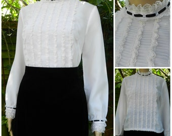 60s 70s white High Neck semi sheer MOD Mary Poppins Tux blouse ruffled lace front and wrists U.K. 10 - 12 S M