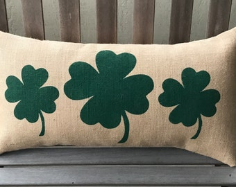 Four Leaf Clovers Burlap Pillow  - St Patrick's Day -Irish Pillow *SHIPS Within 3 DAYS!