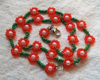 Daisy Chain Necklace,Orange and Green, Seed Bead Jewelry daisy Necklace, Beaded Flower Necklace, Beadwork Necklace