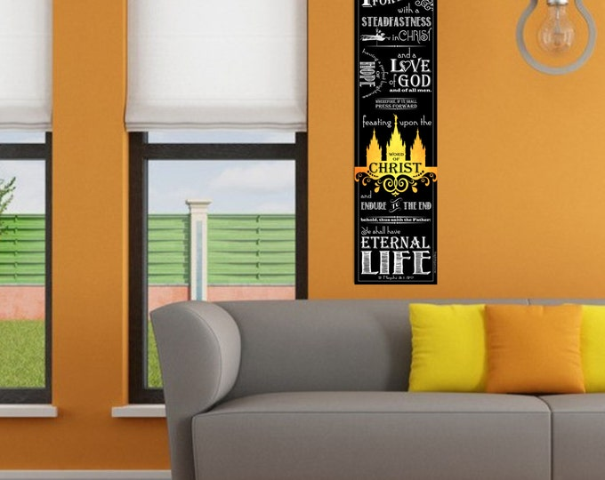 """LARGE poster print Scripture Temple Art  Home Decor """"Press Forward"""" Paper or Vinyl Great YW Relief Society Missionary Gift Girls Camp"""