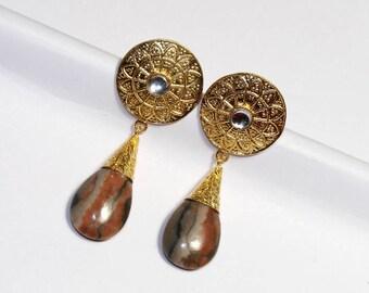 65x25mm Brown Zebra Jasper Gold Earrings / Bollywood Designer Earrings / Fancy Gold Earrings / Ethnic Tribal OOAK Earrings DE208