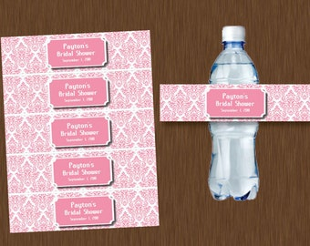 DIY Editable - Pink Damask Water Bottle Labels Printable Bridal Shower Wedding Birthday Party Favor Personalized