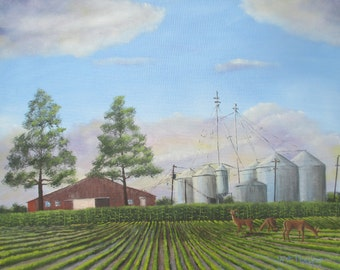 """Whitetails at the Farm 16 x 20"""""""