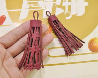10Pcs Fringe tassels,Claret-red tassels,star tassels,leather tassels for handbags keychains diy jewelry supplies 85mm