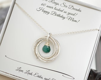 60th Birthday gift for mom and grandma necklace, May birthstone jewelry, 6th Anniversary gift for wife, Mother jewelry, Emerald birthstone