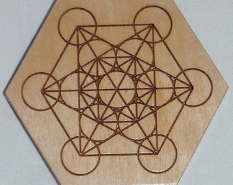 Metatrons Cube Engraved Wooden Crystal Grid Plate Metaphysical New Age