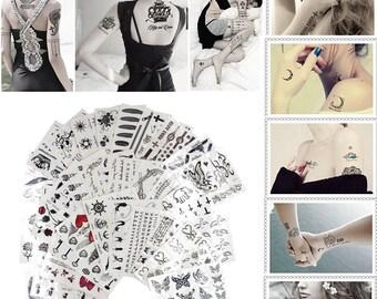 Pack of 10 RANDOM Pattern Water Transfer Flash Fake Temporary Tattoo Stickers Tattoos Makeup(CTJZ21TSsp10R)