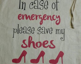 Custom Shoe Bag, Shoe Bag, Personalized Shoe Bag, Drawstring bag, 100% Cotton, Cotton Drawstring bag