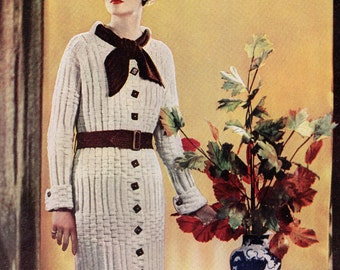 Vintage Knitting Pattern PDF  Coat Dress and Skirt 1930s