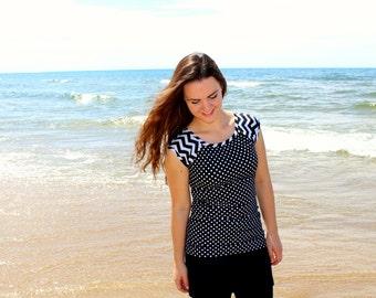 "Modest Swimwear, Swim Top for Women - Style ""Kaylen"" -  SwimTop, Tee, Shirt"