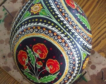 Ostrich Egg with Poppies
